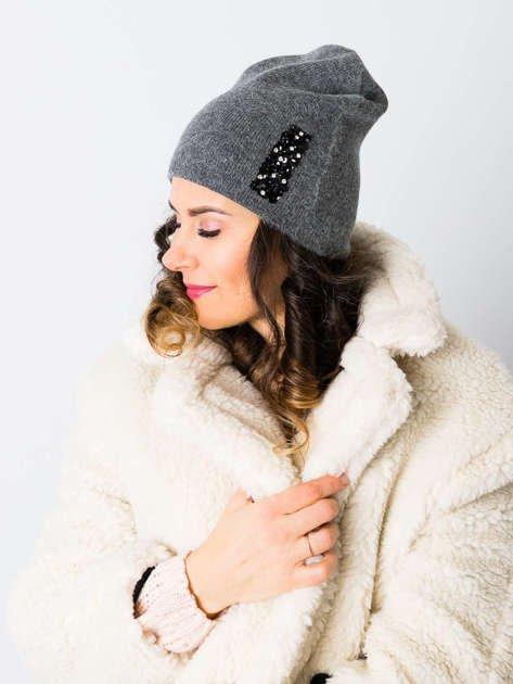 V&T Winter Fashion Ciemnoszara Ocieplana Czapka Męska                              zdj.                              1