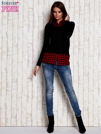 Warstwowy sweter z koszulą w kratę czarny                                  zdj.                                  2