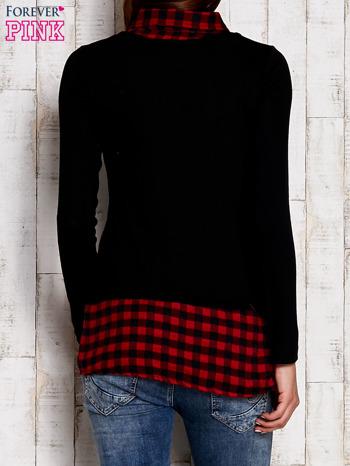 Warstwowy sweter z koszulą w kratę czarny                                  zdj.                                  4