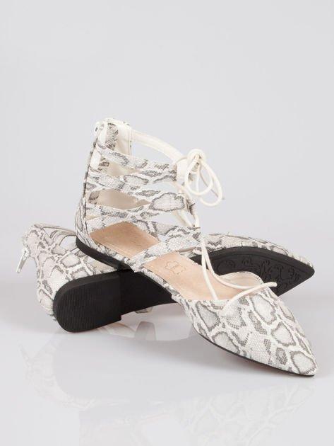 Wężowe baleriny faux suede Taylor lace up z wiązaniem                                  zdj.                                  4