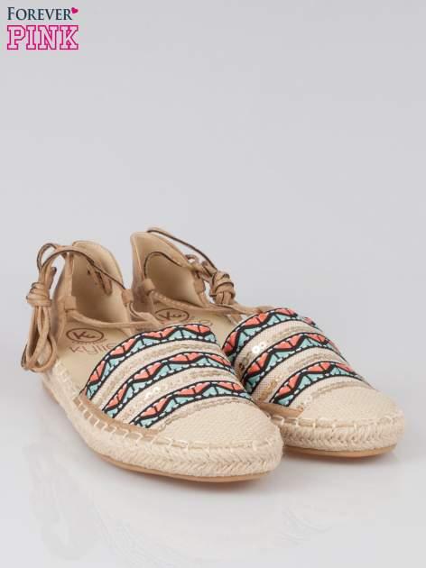Wiązane espadryle lace up w azteckie wzory                                  zdj.                                  2