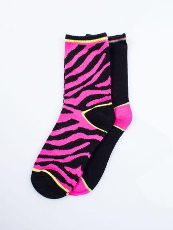 Wielokolorowe skarpetki damskie różowa zebra-czarny zestaw 2 pary