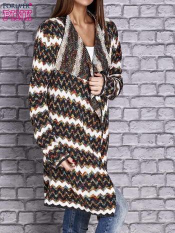 Wielokolorowy otwarty sweter w szlaczki o prostym kroju                                   zdj.                                  3