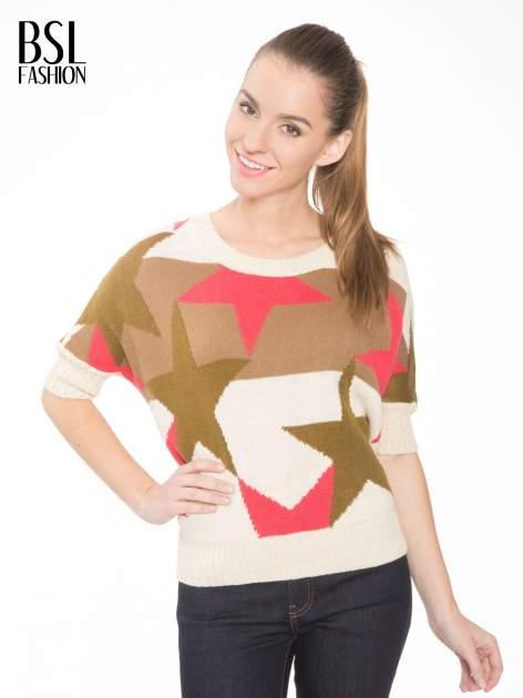 Wielokolorowy sweter z nadrukiem gwiazd                                  zdj.                                  1