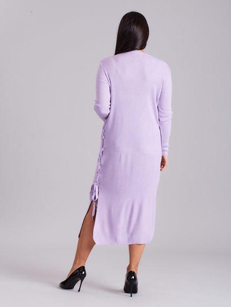 Wrzosowa sukienka dzianinowa z bocznym sznurowaniem                              zdj.                              2