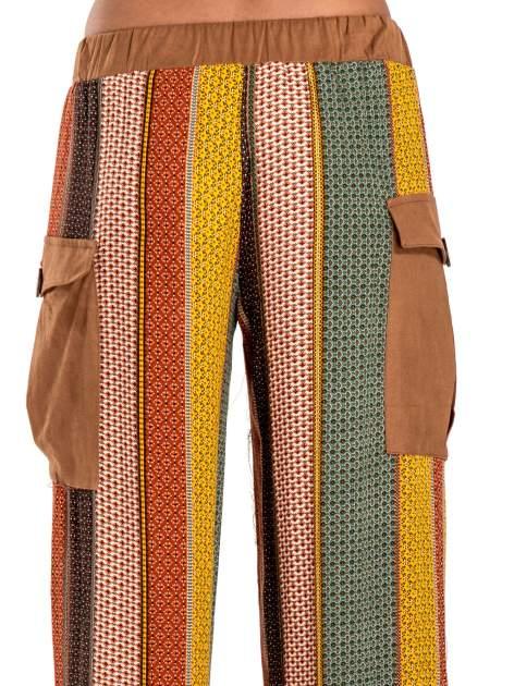 Wzorzyste spodnie palazzo z kieszeniami                              zdj.                              6
