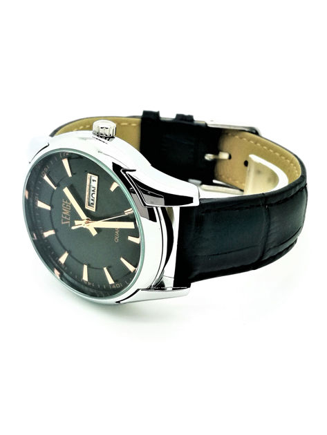 ZEMGE Zegarek męski srebrny na skórzanym czarnym pasku Eleganckie pudełko prezentowe w komplecie                              zdj.                              2