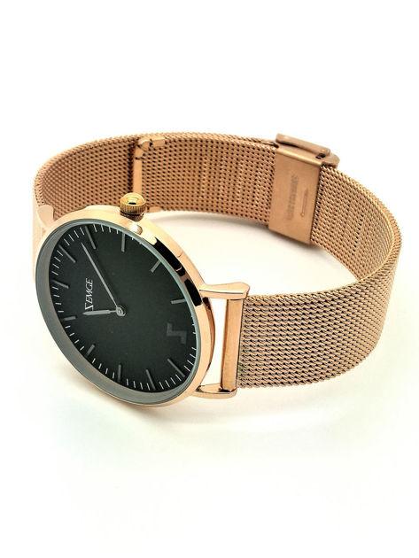ZEMGE Zegarek unisex czarno-złoty na bransolecie typu MESH Eleganckie pudełko prezentowe w komplecie                              zdj.                              2