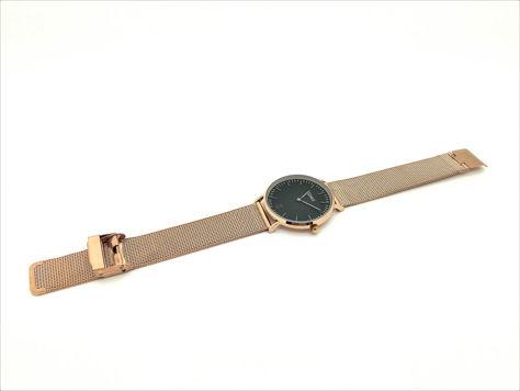 ZEMGE Zegarek unisex czarno-złoty na bransolecie typu MESH Eleganckie pudełko prezentowe w komplecie                              zdj.                              5