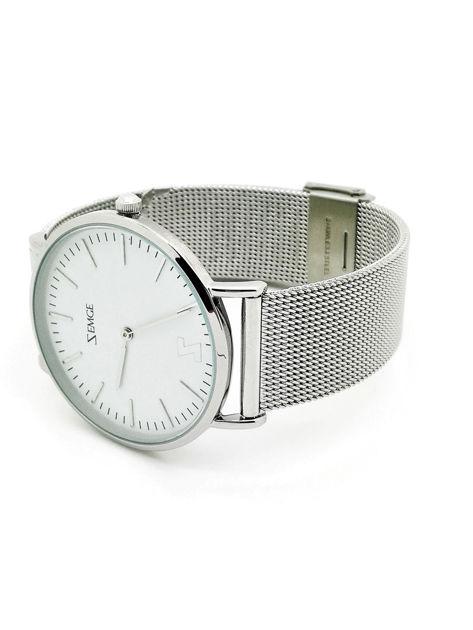 ZEMGE Zegarek unisex srebrny na bransolecie typu MESH Eleganckie pudełko prezentowe w komplecie                              zdj.                              3