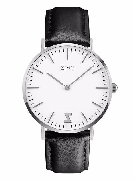 ZEMGE Zegarek unisex srebrny na skórzanym czarnym pasku Eleganckie pudełko prezentowe w komplecie                              zdj.                              1