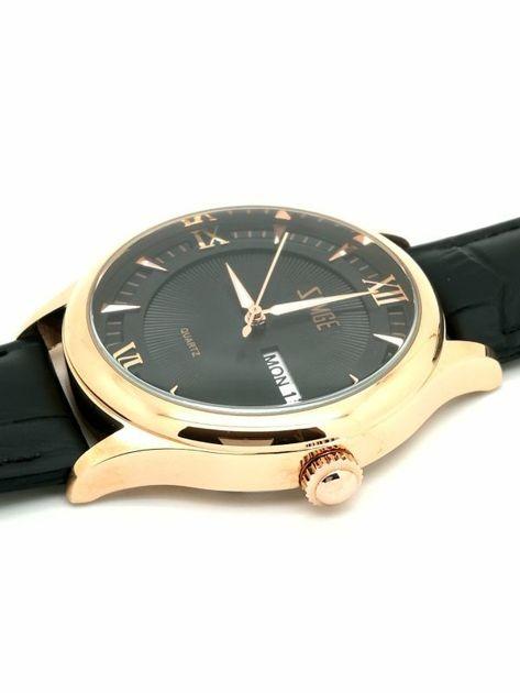 ZEMGE Zegarek unisex złoto-czarny na skórzanym czarnym pasku Eleganckie pudełko prezentowe w komplecie                              zdj.                              2