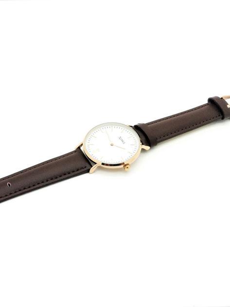ZEMGE Zegarek unisex złoty na skórzanym brązowym pasku Eleganckie pudełko prezentowe w komplecie                              zdj.                              3