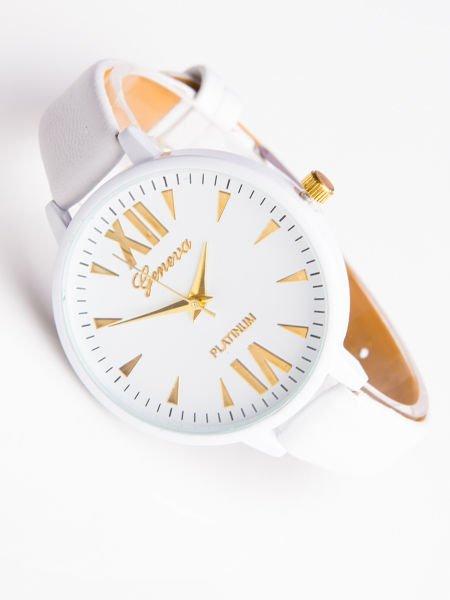 Zegarek damski GENEVA PLATINUM klasyk biały rzymskie cyfry                                  zdj.                                  1