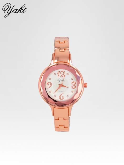Zegarek damski na bransolecie z okrągłą kopertą z cyrkoniami w kolorze różowego złota
