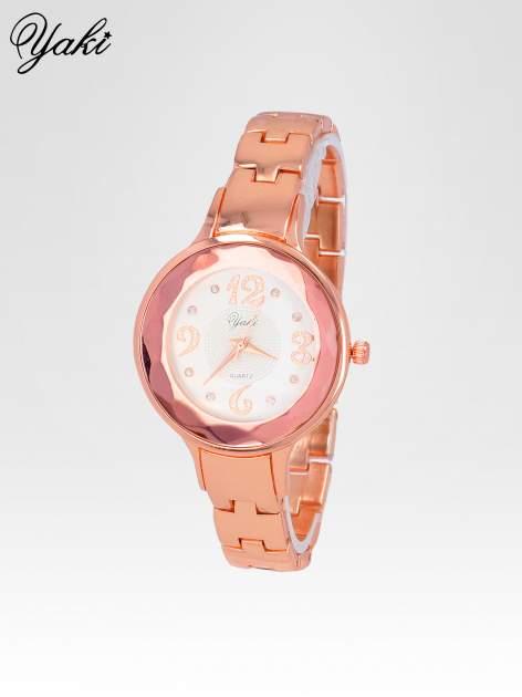 Zegarek damski na bransolecie z okrągłą kopertą z cyrkoniami w kolorze różowego złota                                  zdj.                                  2