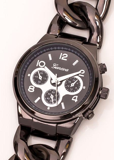 Zegarek damski na bransolecie z pancerką czarny z ozdobnym chronografem                               zdj.                              3