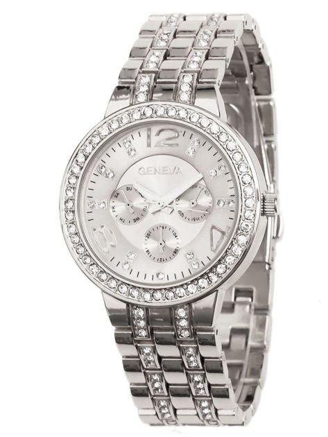 Zegarek damski srebrny na bransolecie, z ozdobnym chronografem i cyrkoniami