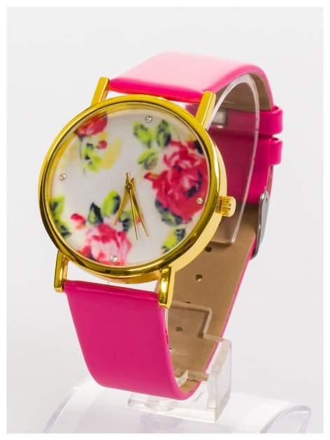 Zegarek damski z kwiatami na tarczy i cyrkoniami                                  zdj.                                  2