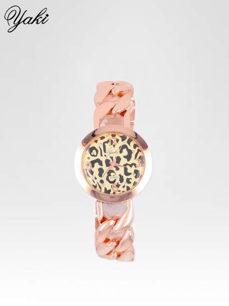 Zegarek damski z motywem leopard print na bransolecie z różowego złota                                  zdj.                                  1