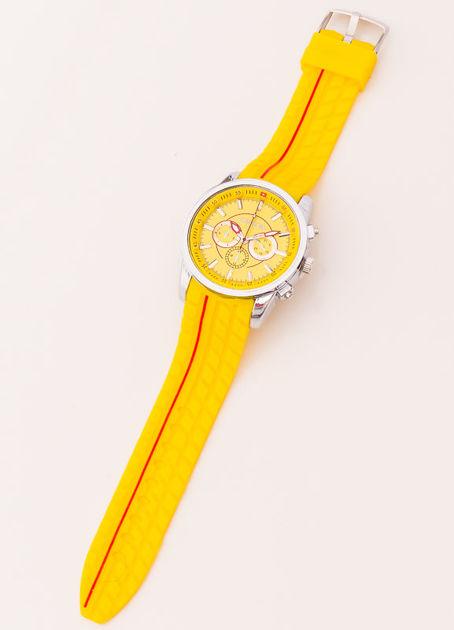 Zegarek męski żółty z ozdobnym chronografem i wzorem bieżnika na pasku                               zdj.                              2