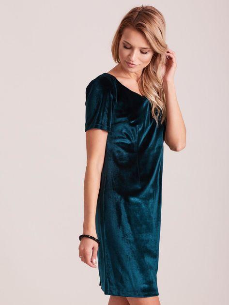 Zielona aksamitna sukienka PLUS SIZE                              zdj.                              3