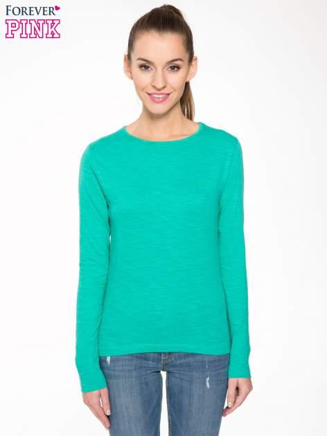 Zielona bawełniana bluzka typu basic z długim rękawem                                  zdj.                                  1