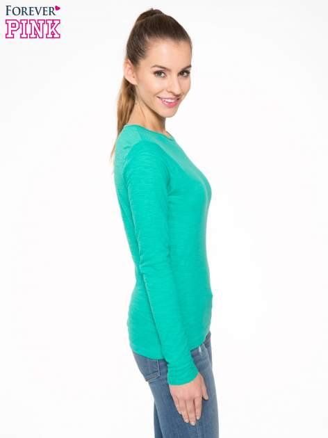 Zielona bawełniana bluzka typu basic z długim rękawem                                  zdj.                                  3