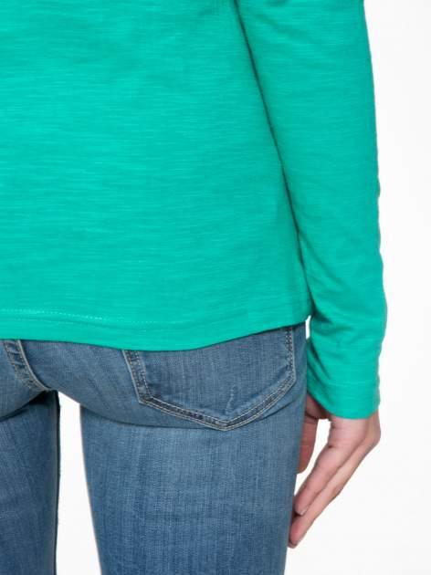 Zielona bawełniana bluzka typu basic z długim rękawem                                  zdj.                                  8