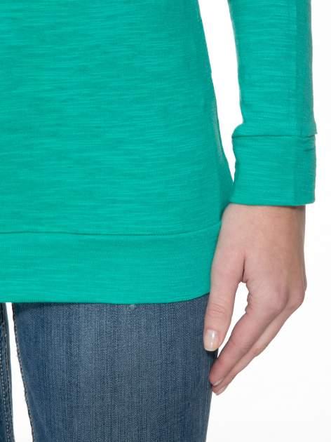 Zielona bawełniana bluzka z rękawami typu reglan                                  zdj.                                  4