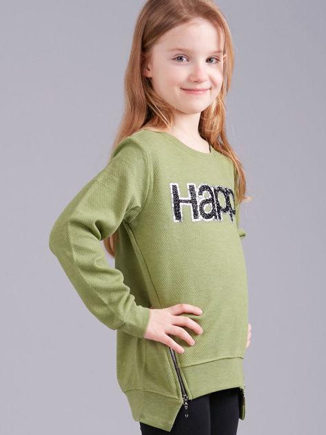 Zielona bluza dziewczęca z aplikacją                              zdj.                              3