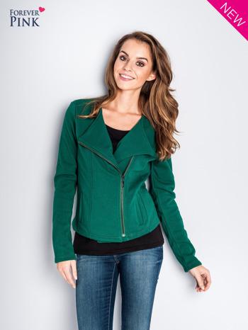 Zielona bluza o kroju ramoneski z asymetrycznym suwakiem                                  zdj.                                  1