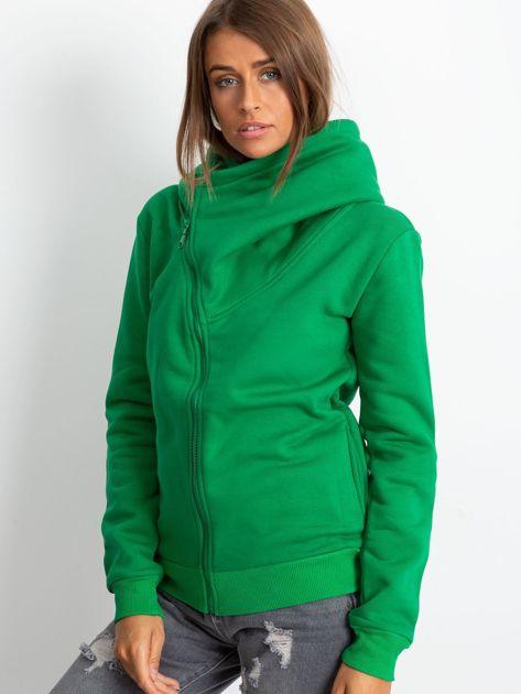 Zielona bluza z asymetrycznym zapięciem                              zdj.                              1