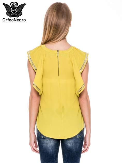 Zielona bluzka koszulowa motylek z cekinami                              zdj.                              4