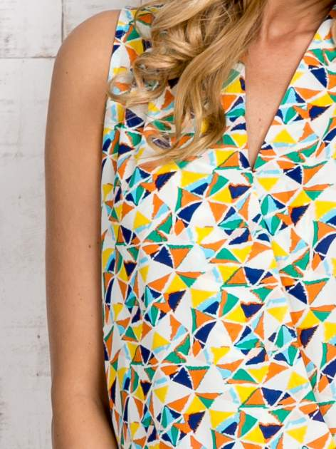 Zielona bluzka koszulowa w geometryczne wzory                                  zdj.                                  5