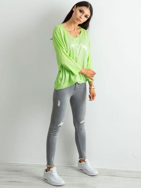 Zielona bluzka z delikatnym połyskiem                              zdj.                              4