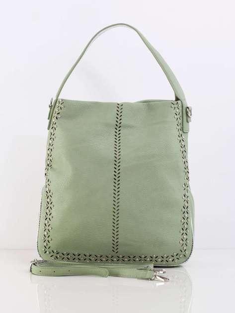 Zielona damska torba z aplikacją
