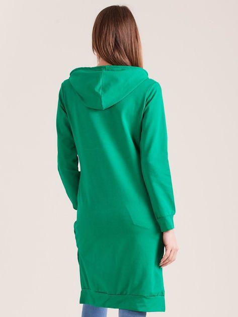 Zielona długa bluza z kapturem I NEED COFFEE                              zdj.                              2