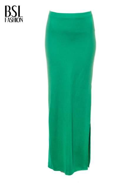 Zielona długa spódnica maxi z rozporkiem                                  zdj.                                  5