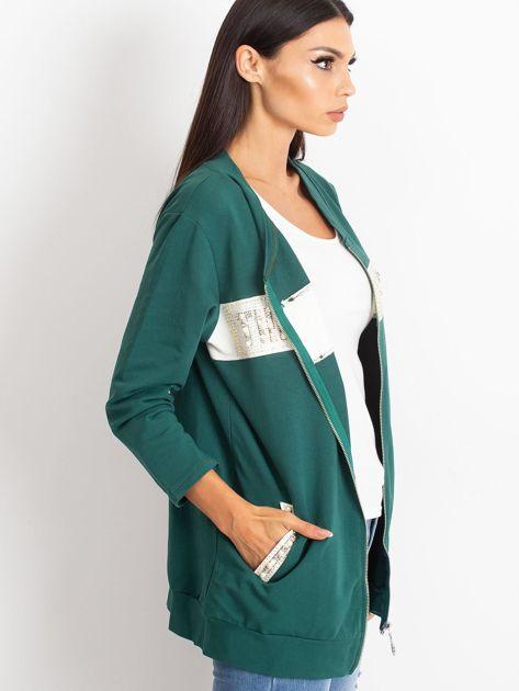 Zielona dresowa bluza z aplikacją                              zdj.                              3