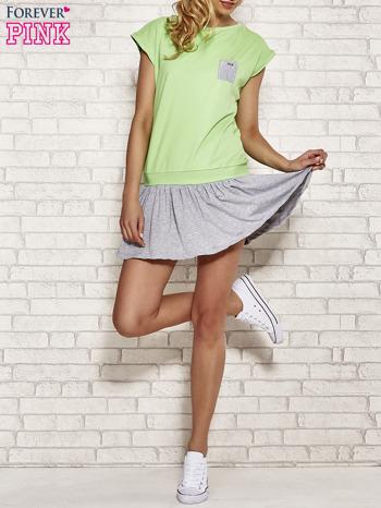 Zielona dresowa sukienka tenisowa z kieszonką                                  zdj.                                  4