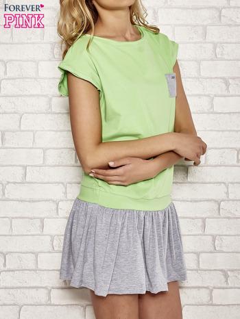 Zielona dresowa sukienka tenisowa z kieszonką                                  zdj.                                  3