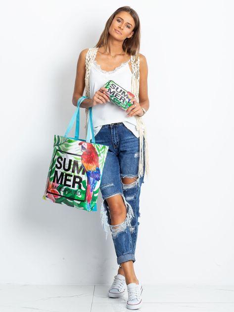 Zielona duża torba z napisem                              zdj.                              8