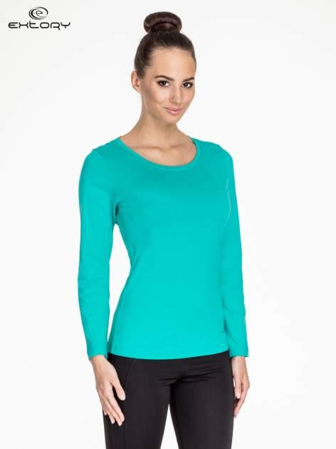 Zielona gładka bluzka sportowa z dekoltem U PLUS SIZE