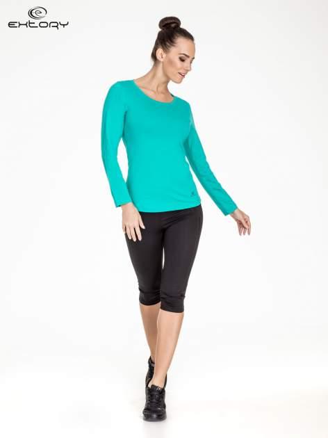 Zielona gładka bluzka sportowa z dekoltem U PLUS SIZE                                  zdj.                                  2