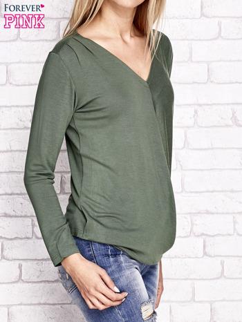 Zielona kopertowa bluzka z trójkątnym dekoltem                                  zdj.                                  3