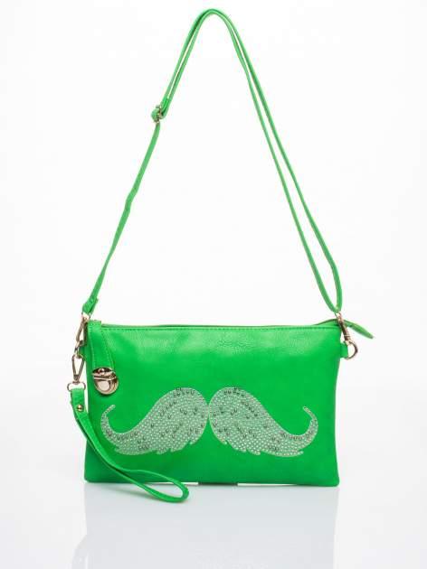 Zielona kopertówka z dżetami motyw wąsów                                  zdj.                                  3