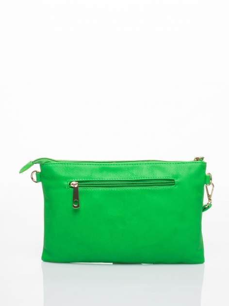 Zielona kopertówka z dżetami motyw wąsów                                  zdj.                                  2