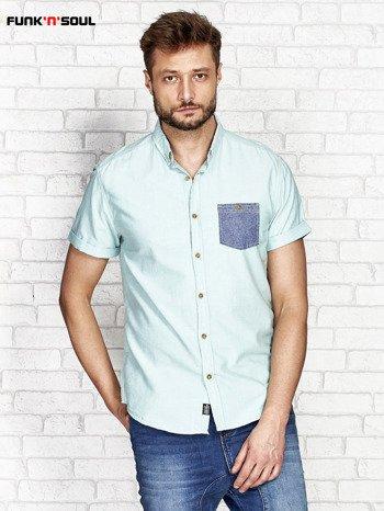 Zielona koszula męska z kontrastową kieszonką FUNK N SOUL                              zdj.                              1
