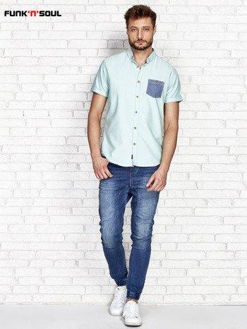 Zielona koszula męska z kontrastową kieszonką FUNK N SOUL                              zdj.                              4